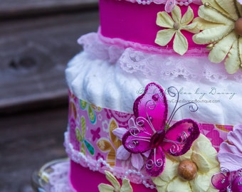 It's a Girl Diaper Cake, Baby Shower Diaper Cake, pink and yellow diaper cake