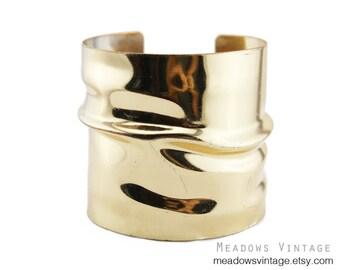 Wide Gold Cuff Bracelet,  Chunky Gold Cuff Bracelet, Wide Gold Cuff Bracelet
