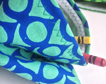 "Reusable Snack Bag - Screen Printed Linen/Cotton - 5""x6.5"" -  Blue on Blue"