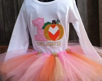 Birthday outfit, fall birthday, pumpkin, Tutu set, tutu