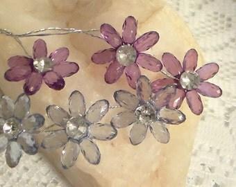 Acrylic Rhinestone Flowers (6)
