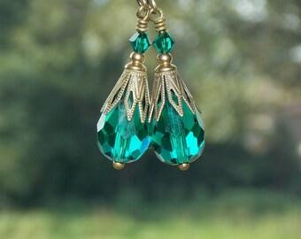 Teal Crystal  Drop Earrings, Vintage Style Earrings, Crystal Dangle Earrings, Victorian Style Earrings, Bridal Earrings. Wedding Jewelry
