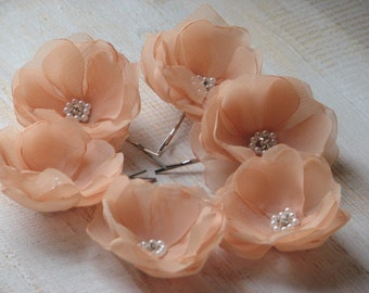 Set of 6 peach flowers Peach wedding flower Peach hair flowers Peach hair pin Peach wedding Hair flower Wedding hair flower Peach hair piece