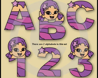 Oona (Bubble Guppies) Alphabet Letters & Numbers Clip Art Graphics
