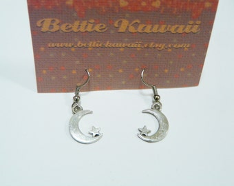 Moon Earrings Galactic Star Jewellery Kawaii Pastel Goth Coven Witchy 90s Grunge Crescent Lunar Half Silver Colour Cute Gift Handmade