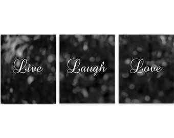Instant Download Home Quote Art, Live Laugh Love, Black Bokeh Bedroom Wall  Art,