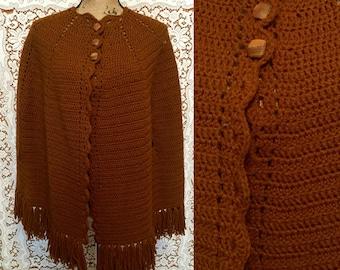Handknit butterscotch yarn fringe poncho cape Crocheted Fringe Poncho Warm Fringe Cape  Button Closure Cape