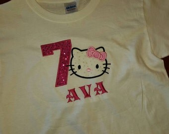 Hello Kitty inspired birthday 1-9  personalized shirt