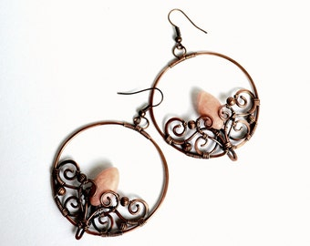 Copper and pink opal woodland fairy earrings