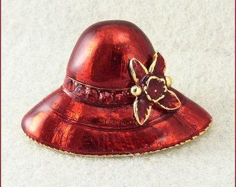 Vintage Red Enamel Red Hat Society Brooch Pendant