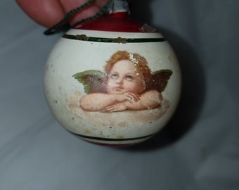 Antique Hand Painted Glass Angel Ornament