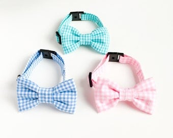 dog bowtie collar gingham check pastel color-stylish dog fashion-kawaii dog collar-dog accessories-dog clothing-pet bowtie-love factory NY