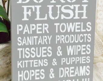 Do Not Flush, Septic System Rules Sign, Bathroom Decor, 9x12 Sign
