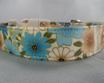 Blue and Tan Floral Dog Collar