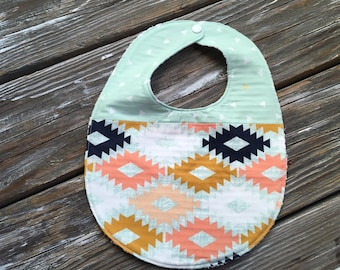 Baby/Toddler Bib ~ Two Toned/Quilted ~ Coral//Agave//Arizona//Triangle//Tribal//Mint//Gold//Southwestern