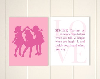 Sisters wall art, three sisters, shared girls room, siblings art, kids room, playroom wall art, girls art, baby girl nursery, set of 2