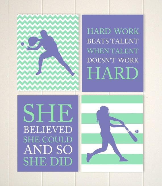 Girls Softball Wall Art Softball Room Decor Pitcher Batter