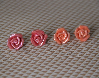 Shiny Pink or Coral Stud Earrings!
