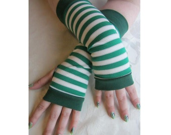Green Striped Fingerless Gloves