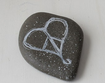 heart peace sign painted rock, painted beach rock, beach painted stone, peace sign decor, boho decor, boho peace sign rock