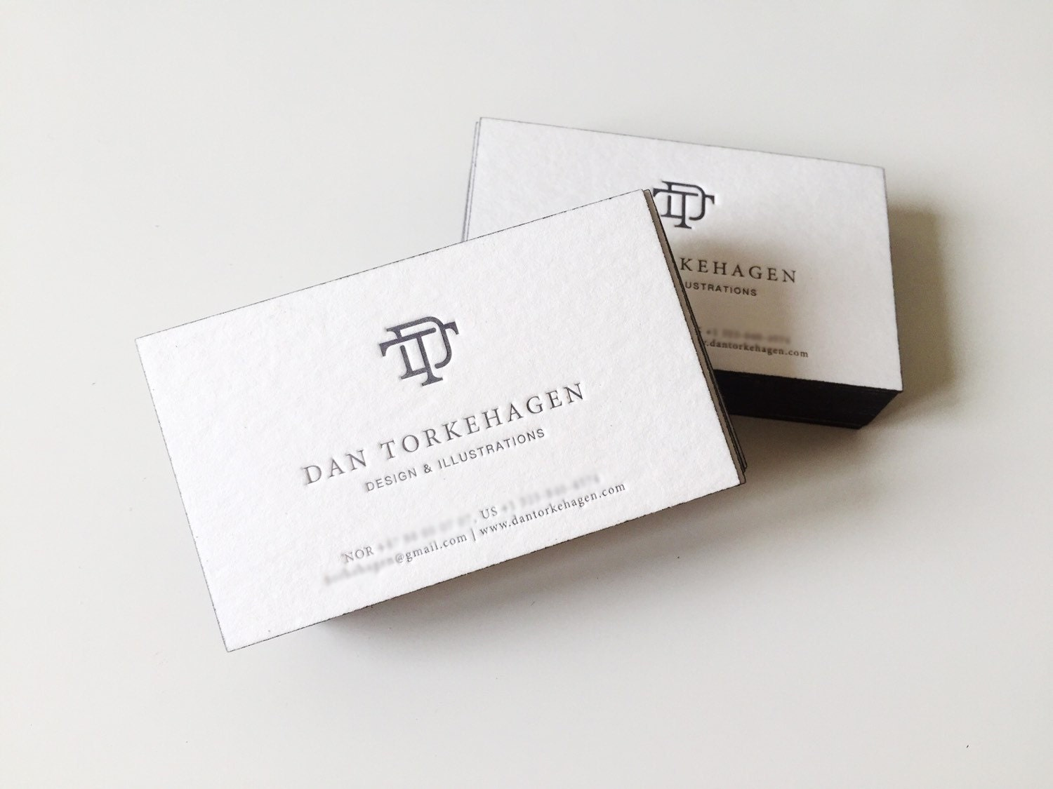 200 pcs of Personalized Letterpress Business Card, Side with color ...