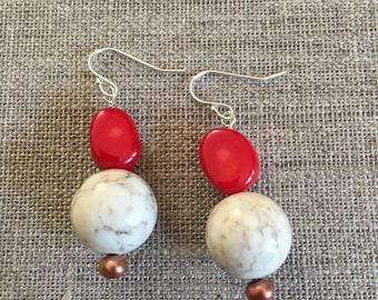Coral and white howlite sterling earrings.