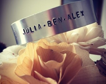 Aluminum cuff hand stamped made to order