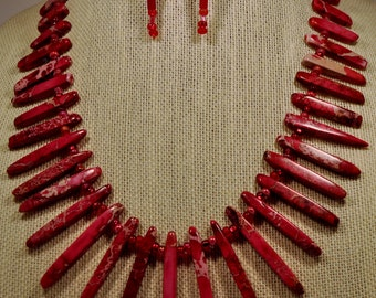 Red Magnesite statement necklace and earring set