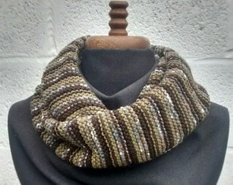 Cowl, Circular Scarf, Hand Knit Green and Brown Stripes