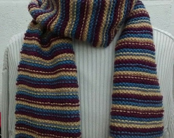 Men's hand knit long  stripy scarf