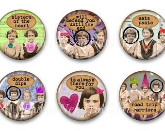 Magnets, Button Magnets, Fridge Magnets, Retro Friend Magnets 3, 1 1/4 inch, Best friends gift, Hostess Gift, SET OF 6.