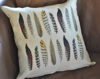 "Pheasant Feathers Pillow Cover, 18"" FREE SHIPPING"