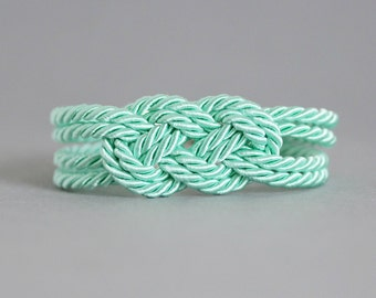 Mint Green Knot Bracelet, Adjustable Nautical Bracelet, Navy Green Btacelet, Nautical Bracelet, Knot Bracelet, Navy Knot Bracelet, Rope Knot