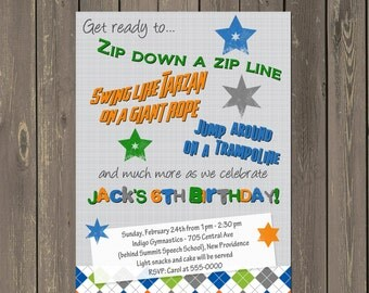 Zipline Birthday Invitation, Ropes Course Invite, Trampoline Party, Rock Climbing Party Invitation, Any Wording, Printable or printed