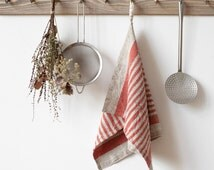 Red Stripe Rustic Stone Washed Linen Tea Towel