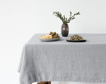 Light Grey Stone Washed Linen Tablecloth
