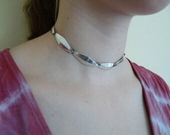 Bent Knudsen Denmark top designer vintage 1960s choker necklace mid century modern modernist sterling silver