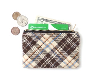 Plaid Wallet Coin Purse Zipper Pouch Slim Wallet