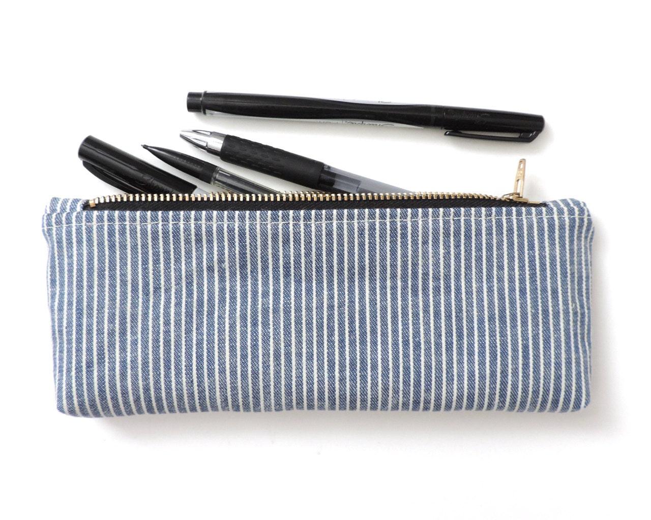 stripe pencil pouch pencil blue by lindock