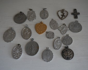 Vintage, Set of Eighteen Rosary Medals
