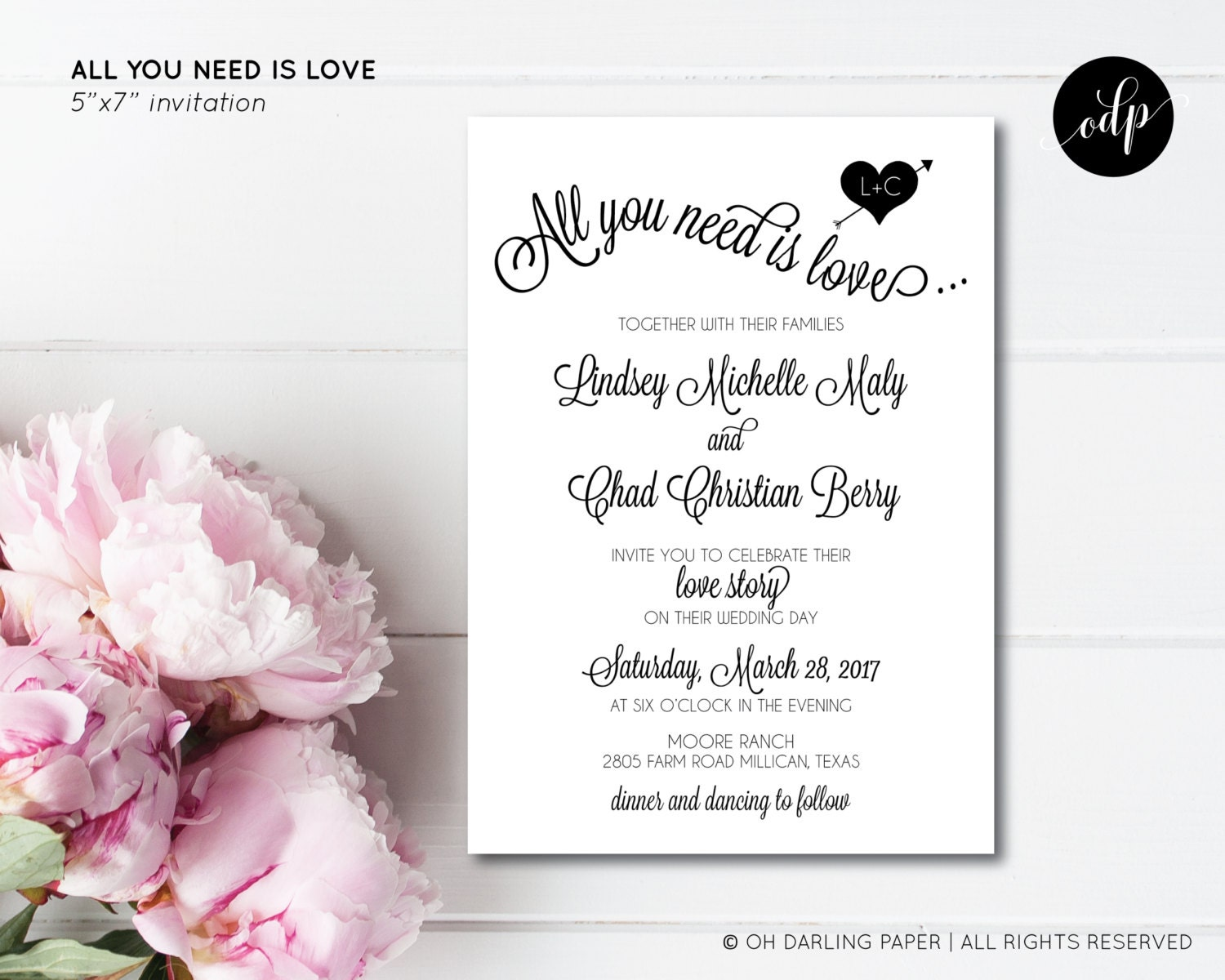 All You Need Is Love Wedding Invitations: Printable Wedding Invitation. All You Need Is Love. Beatles