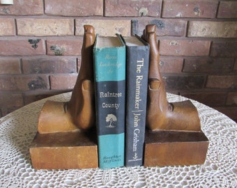 Unique Wood Carved Hands Bookends Large.