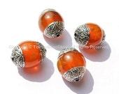 4 beads - Tibetan Amber Beads with Double Vajra Filigree Repousse Tibetan Silver Caps - 17mm x 22mm - Ethnic Tibetan Unique Beads - B1395