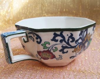 SALE Antique Nankin Tea Cup Porcelain English Tea Cup Doulton Burslem Blue White Nankin 1910 Pattern Octagon Shape Dining Vintage Teacup