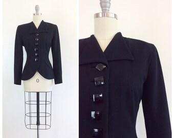 40s Lilli Ann Black Nipped Waist Blazer / 1940s Vintage Fitted Waist With Skirt Hem Jacket With Geometric Buttons / Medium / Size 6