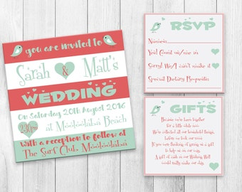 Printable Wedding Invitation Set - Modern Kraft Love Bird Design