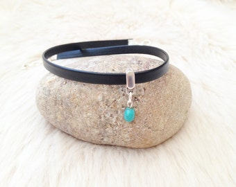 Turquoise tiny bead skinny black nappa leather choker. Turquoise jewellery