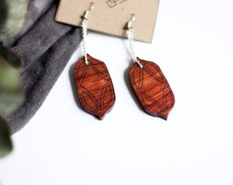 Moroccan Style Laser Etched Wooden Earrings