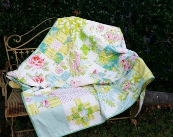 Quilted throw Bed quilt Patchwork Coverlet Handmade by Kittyandzac Australia. Ready to ship