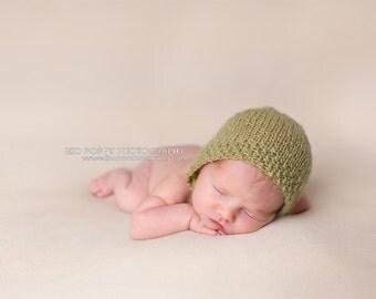 Sage Newborn Bonnet - Sage Baby Bonnet - Sage Infant Bonnet - Green Baby Bonnet - Sage Baby Hat - Sage Newborn Hat - Sage Newborn Photo Prop